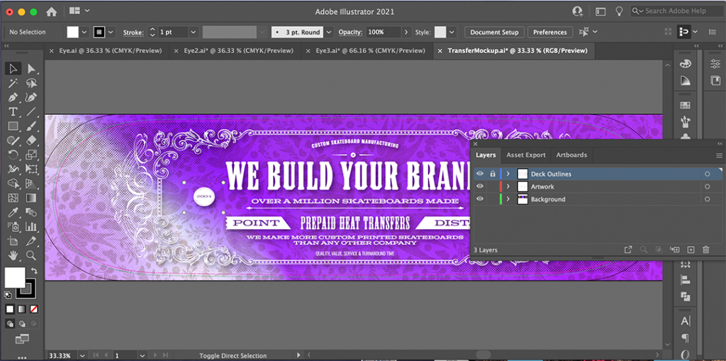 Artwork With Template Outlines